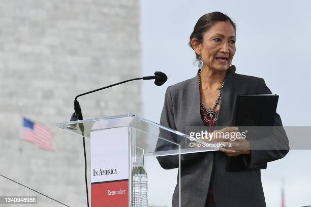 Interior Secretary Deb Haaland delivers remarks during the opening ceremony of 'In America: Remember,' a public art installation commemorating all...