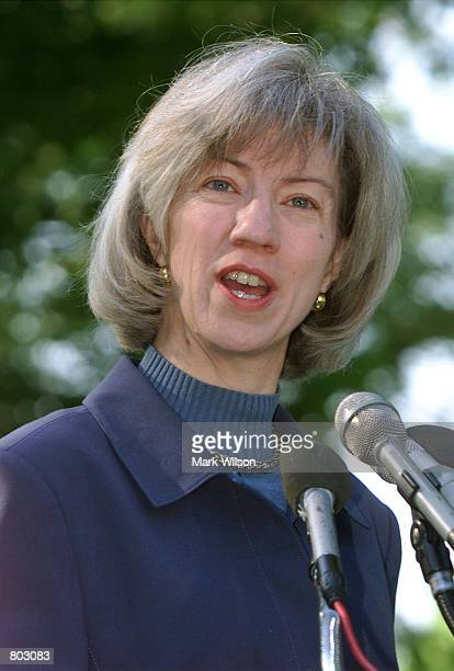 Interior Secretary Gale A. Norton makes a statement before shoveling dirt into a newly planted Oak tree, April 27, 2001 at the U.S. Capitol in...