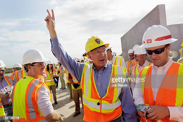 Interior Secretary Ken Salazar as he visits the Tamiami Trail Bridge Project in the Florida Everglades on October 20 2011 in Miami Florida Salazar...