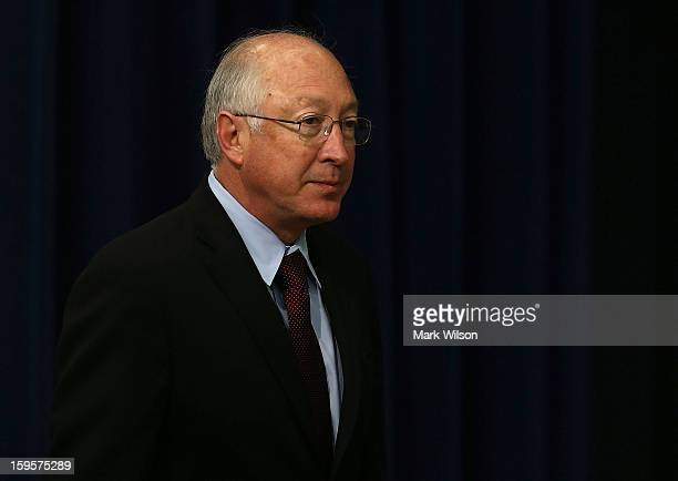 Interior Secretary Ken Salazar attends an event where President Bacark Obama announced the administration's new gun law proposals in the Eisenhower...