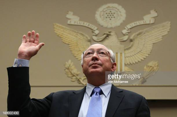 S Interior Secretary Ken Salazar is sworn in prior to testimony before the House Energy and Commerce Committee and Energy and Environment...
