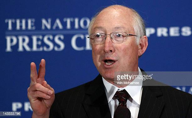 S Interior Secretary Ken Salazar speaks at the National Press Club's Newsmaker Luncheon April 24 2012 in Washington DC Salazar spoke on gas prices...