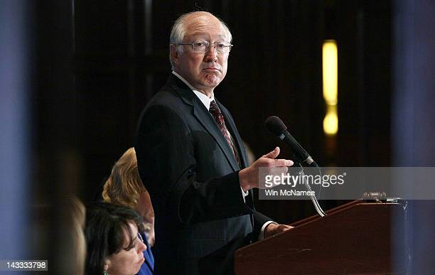 S Interior Secretary Ken Salazar speaks at the National Press ClubÕs Newsmaker Luncheon April 24 2012 in Washington DC Salazar spoke on gas prices...