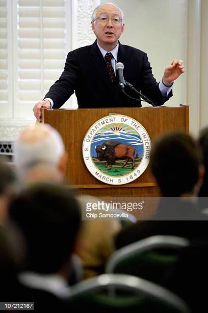 Interior Secretary Ken Salazar speaks during a forum on Natural Gas Hydraulic Fracturing on Public Lands at the Department of Interior November 30...