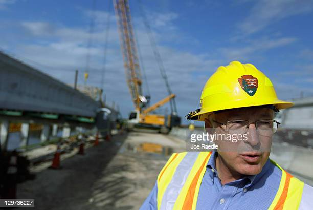 Interior Secretary Ken Salazar speaks to reporters as he visits the Tamiami Trail Bridge Project in the Florida Everglades on October 20 2011 in...