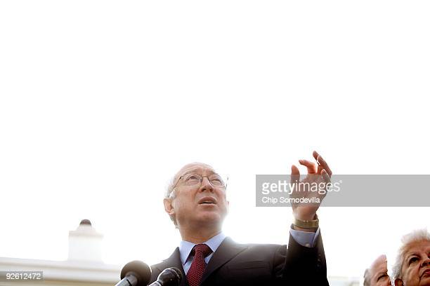 S Interior Secretary Ken Salazar talks to the news media outside the White House November 2 2009 in Washington DC Salazar hosted a Clean Energy...
