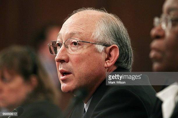 Interior Secretary Ken Salazar testifies during a Senate Energy and Natural Resources Committee hearing on Capitol Hill on May 18 2010 in Washington...