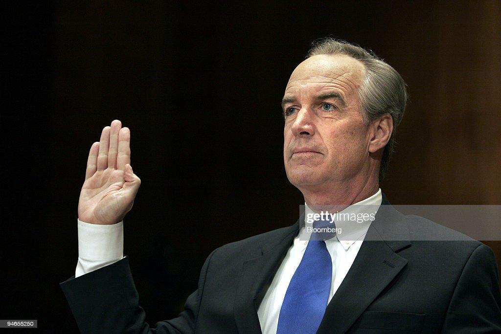 Interior Secretary Nominee Dirk Kempthorne is sworn prior to