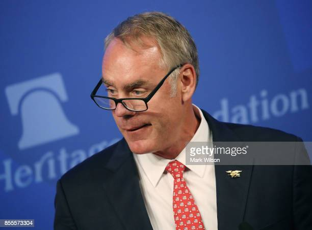 Interior Secretary Ryan Zinke addresses criticism of his travel practices before delivering a speech billed as 'A Vision for American Energy...