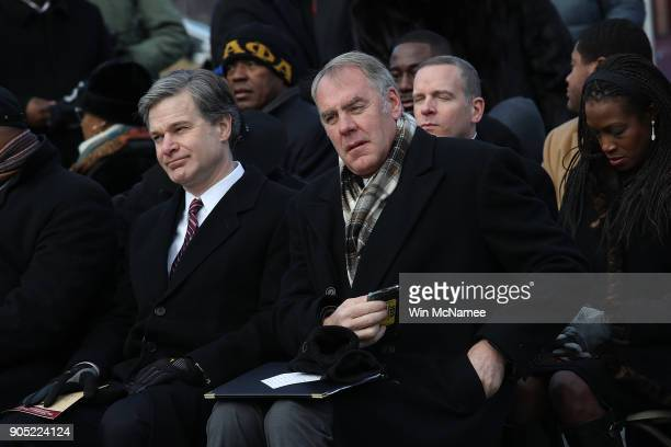 Interior Secretary Ryan Zinke and FBI Director Christopher Wray take part in a ceremony at the Martin Luther King Jr Memorial on Martin Luther King...