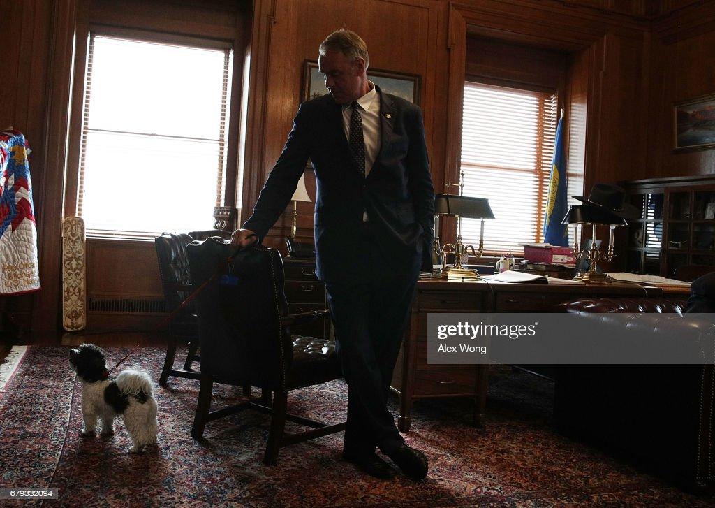 U.S. Interior Secretary Ryan Zinke And His Dog Ragnar, A Two Year Old