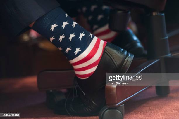Interior Secretary Ryan Zinke dons patriotic socks during a Senate Energy and Natural Resources Committee hearing in Dirksen Building on the...