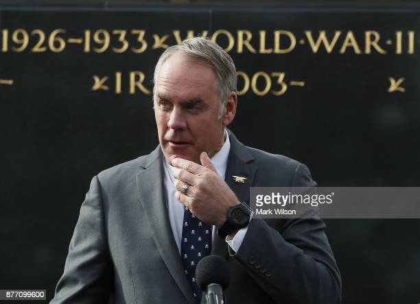 Interior Secretary Ryan Zinke speaks during a news conference at the newly restored Iwo Jima US Marine Corps War Memorial on November 21 2017 in...