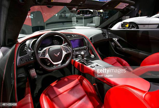 Interior shot of the new Chevrolet Corvette Z06 to the media at the 2015 North American International Auto Show at Cobo Center on January 12 2015 in...