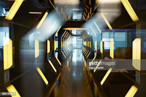 interior shots of modern designed spaceship style corridor in office building - focus concept stock pictures, royalty-free photos & images