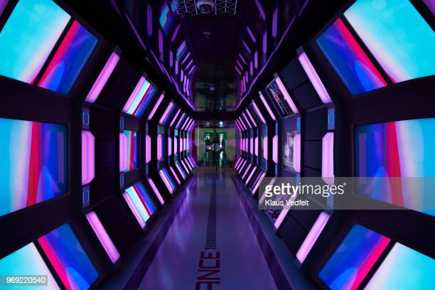 interior shots of modern designed spaceship style corridor in office building - spaceship stock photos and pictures