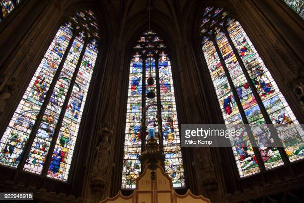 Interior stained glass windows of Lichfield Cathdral in Lichfield, England, United Kingdom. Lichfield Cathedral is situated in Lichfield,...