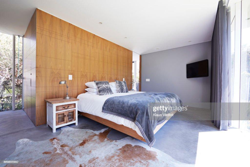 Interior still life image of bedroom in designed villa : Stock Photo