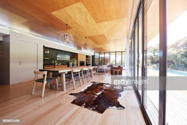 interior still life image of living room in designed villa - animal skin rug stock pictures, royalty-free photos & images