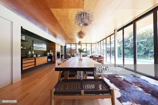 interior still life image of living room in designed villa - bearskin rug imagens e fotografias de stock