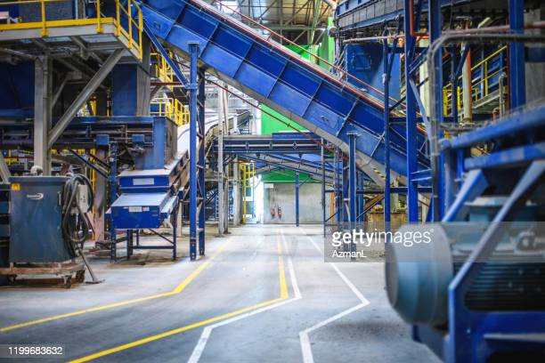 interior structure and thoroughfare of recycling facility - waste management stock pictures, royalty-free photos & images