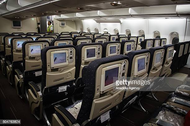 Interior the Air France Airbus A380 during the arriving to the Mexico City International Airport 'Benito Juarez' in the first flight of this aircraft...