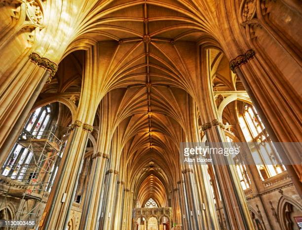 interior vaulted ceiling of bristol cathedral - ceiling stock pictures, royalty-free photos & images