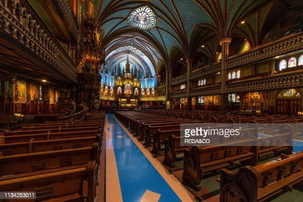 Interior view Notre Dame basilica Montreal Quebec Canada