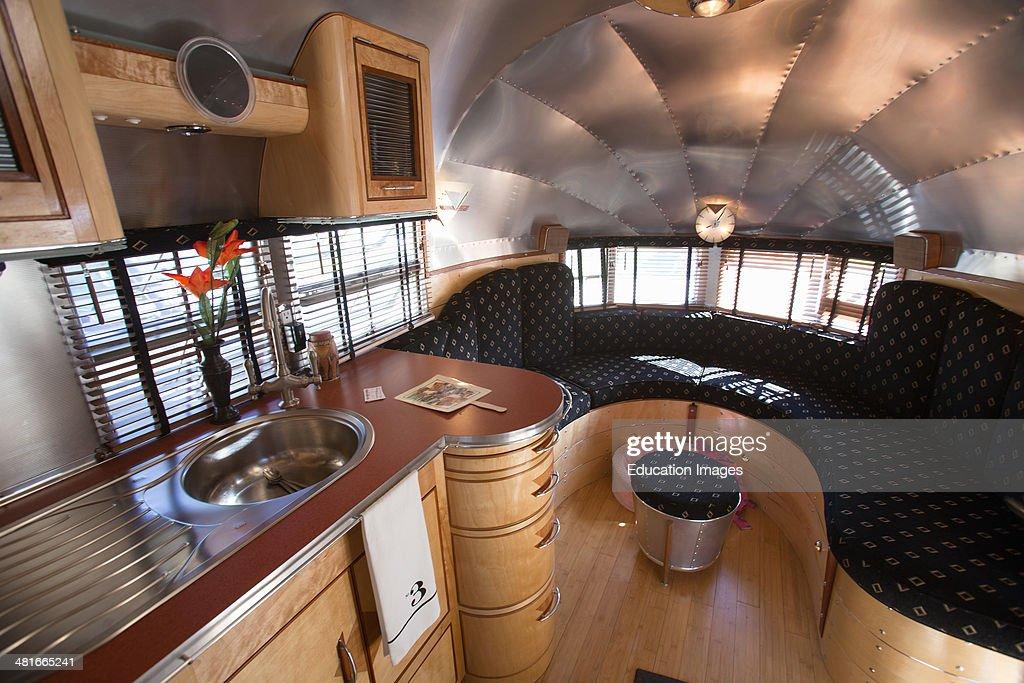 Vintage Trailer Resort >> Interior view of 1930's Art Deco Airstream Trailer at ...
