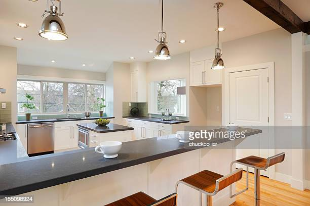 interior view of a bright luxury kitchen - pendant light stock pictures, royalty-free photos & images