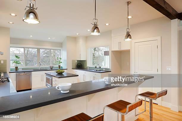 Interior view of a bright luxury kitchen