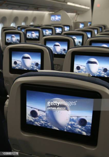 Interior view of a cabin of the economy class of the new long distance aircraft A350 XWB photographed during a presentation in the Airbus plant in...