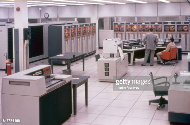 Interior view of a computer room in the Data Office building at NASA's Manned Space Center Houston Texas 1960s