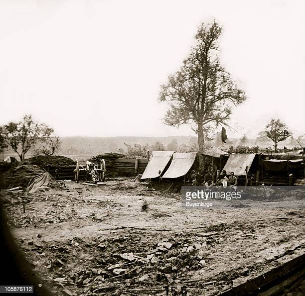 Interior view of a Confederate redoubt commanding the Chesterfield bridge North Anna River VA 1864 The camp was captured by 2nd Corps under General...