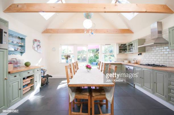 interior view of a country style kitchen - tidy room stock pictures, royalty-free photos & images