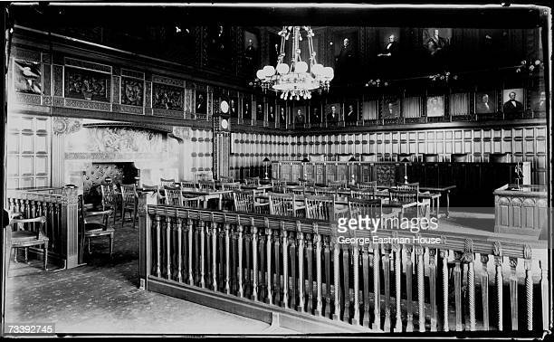 Interior view of a courtroom in the New York Court of Appeals Albany New York early 1900s
