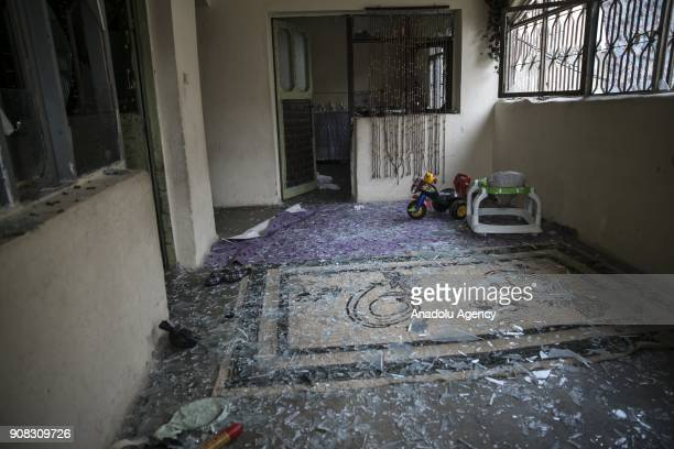 Interior view of a damaged house is seen after a rockets fired from across the border landed in Turkeys Reyhanli district in southern Hatay province...