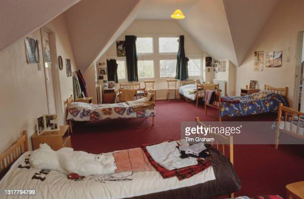 Interior view of a dormitory at Ludgrove School, an independent preparatory boarding school in Wokingham, Berkshire, England, 18th November 1989....