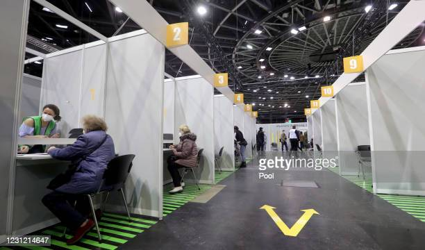 Interior view of a new coronavirus, COVID-19, vaccination center at the 'Velodrom' on February 17, 2021 in Berlin, Germany.
