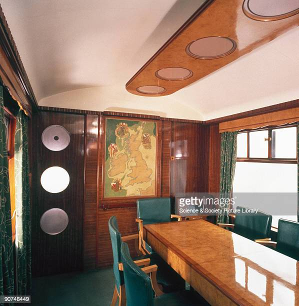 Interior view of a railway carriage built for the Great Western Railway and used by HM Queen Elizabeth the Queen Mother
