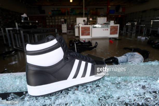 Interior view of a ransacked sneaker store wall in the Mt Airy/Wadsworth sections of Northwest Philadelphia PA on June 1 2020 Overnight several...