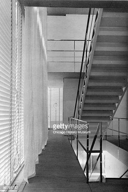 Interior view of a staircase the 'Crystal House' at the Century of Progress International Exposition Chicago Illinois 1934 The home's exterior frame...