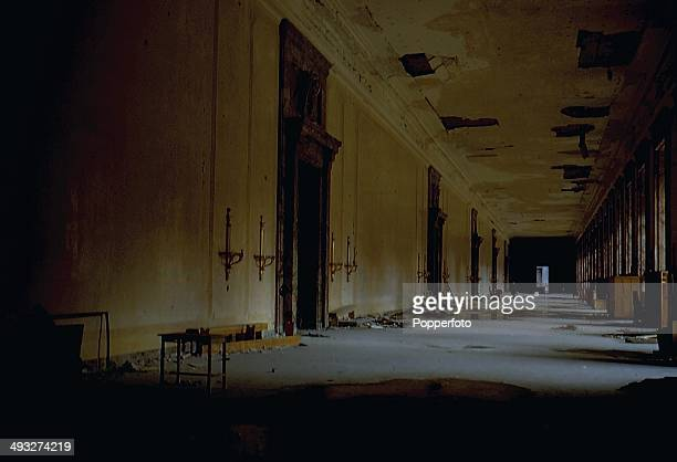 Interior view of a state room and grand corridor in the New Reich Chancellery in Berlin damaged and ruined by Soviet Artillery after the battle for...