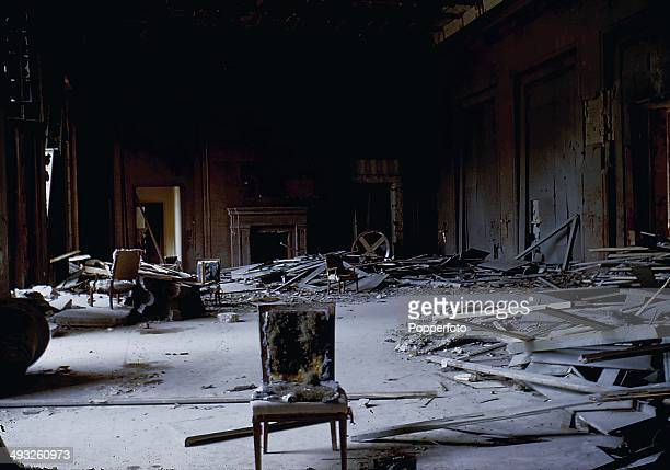 Interior view of a state room in the New Reich Chancellery in Berlin damaged and ruined by Soviet Artillery after the battle for Berlin in May 1945