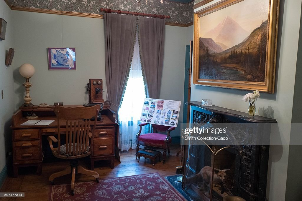 Interior view of a study at the Rengstorff House, a restored Victorian home and one of the first houses built in the Silicon Valley town of Mountain View, California, August 24, 2016. (Photo by Smith Collection/Gado/Getty Images).