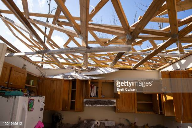 Interior view of a tornado damaged apartment on March 3 2020 in Cookeville Tennessee A tornado passed through the Nashville area just after midnight...