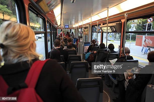 Interior view of a Zurich tram