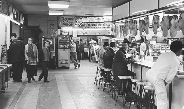 Interior view of an arcade at 42nd Street and Broadway...