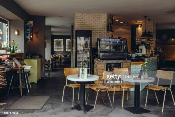 interior view of an empty cafe - sidewalk cafe stock pictures, royalty-free photos & images