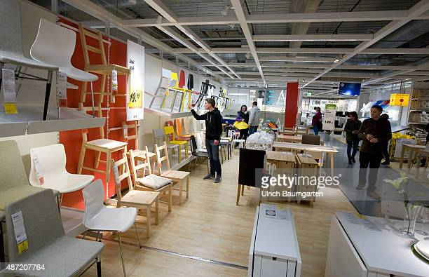 Interior view of an Ikea store in Cologne Customers in the division of seating furniture
